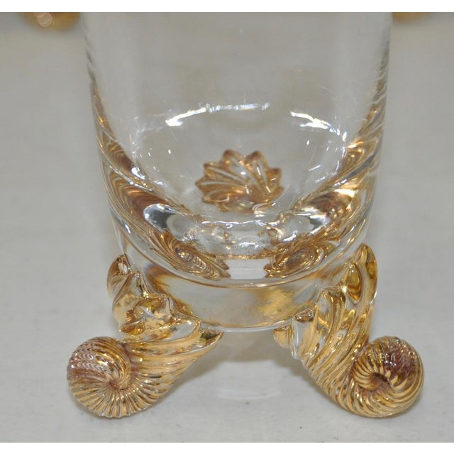 Glass Set of Eight Vintage Hand Blown & Gilded Venetian Glasses For Sale - Image 7 of 8