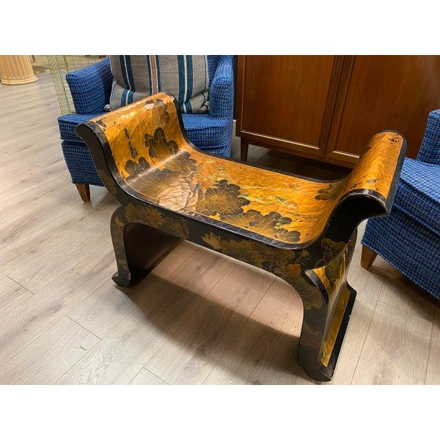 Vintage Asian Bench with unique Hand Paint (oil paint)