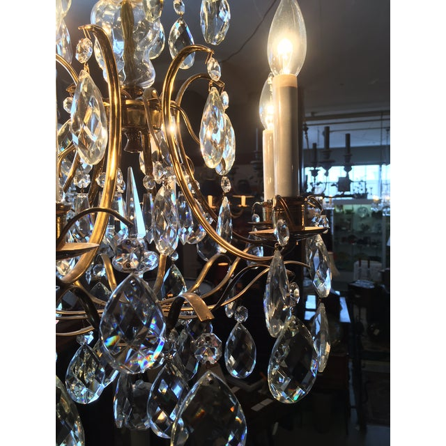 Mid Century Solid Brass Crystal Marie Therese Style French Chandelier 1950s/60s For Sale - Image 11 of 13