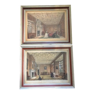 Antique British Castle Rooms Lithograph Prints - a Pair For Sale