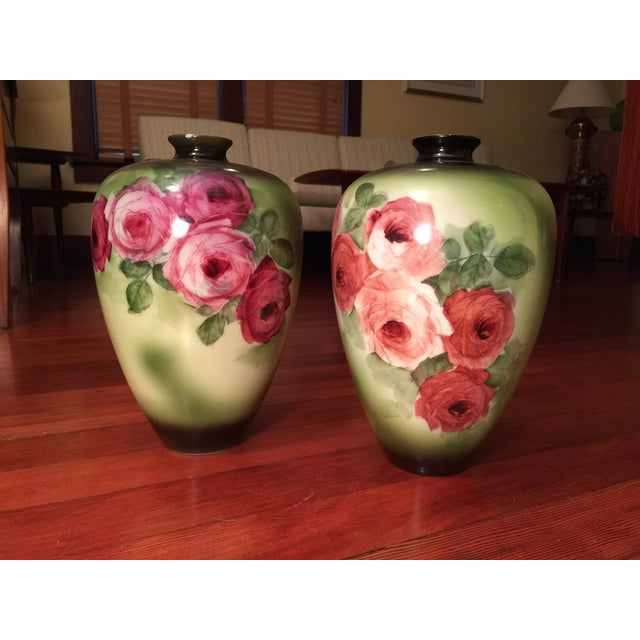 Vintage Porcelain Vases, Green With Roses - a Pair - Image 2 of 6