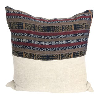 Vintage Indigo Cranberry Ikat Stripe Pillow For Sale