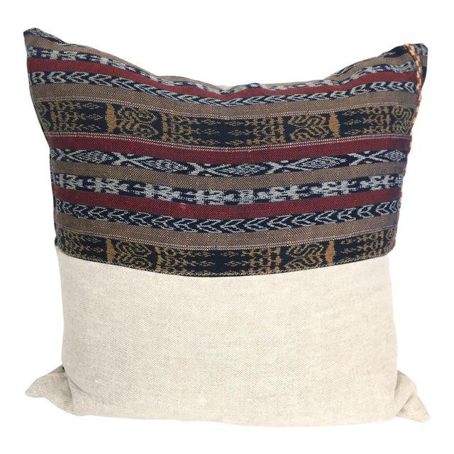 Vintage Indigo Cranberry Ikat Stripe Pillow - Image 1 of 6