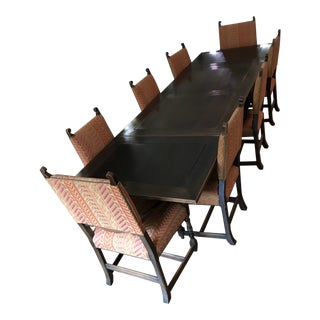 Early 20'th Century Jacobean Gothic Spanish Mission Dining Set - 9 Pieces For Sale