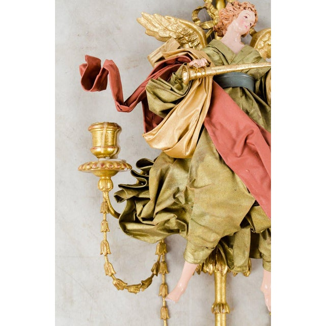 20th C. French Neoclassical Giltwood and Angel Sconces - a Pair For Sale - Image 11 of 13