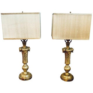 Plume Decorated Hollywood Regency Silvered Lamps Manner of Maison Jansen - a Pair For Sale