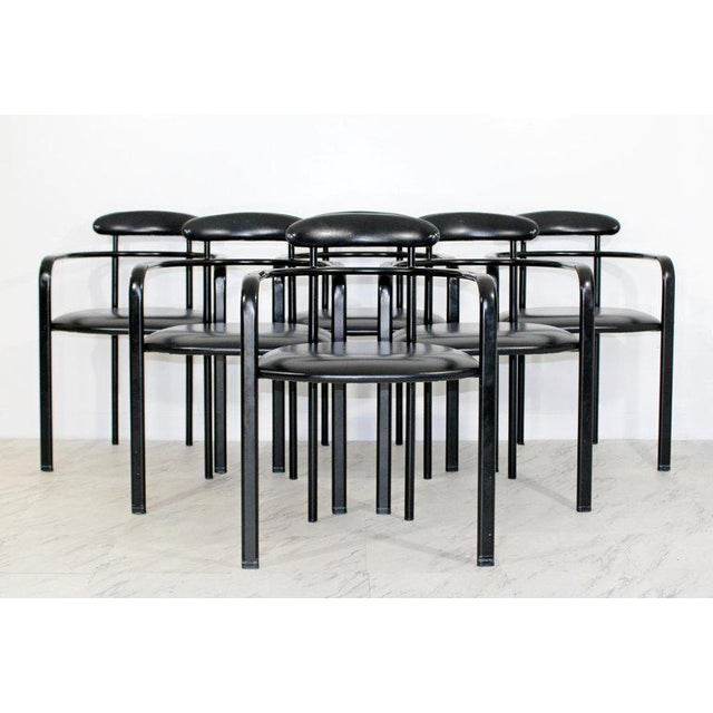 For your consideration is a magnificent, set of six Memphis curved dining armchairs, with black leather seats and backs,...