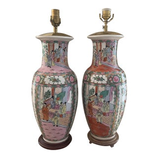 Tall Chinese Export Famille Rose Medallion Porcelain Vase Now Lamps- a Complementary Pair For Sale