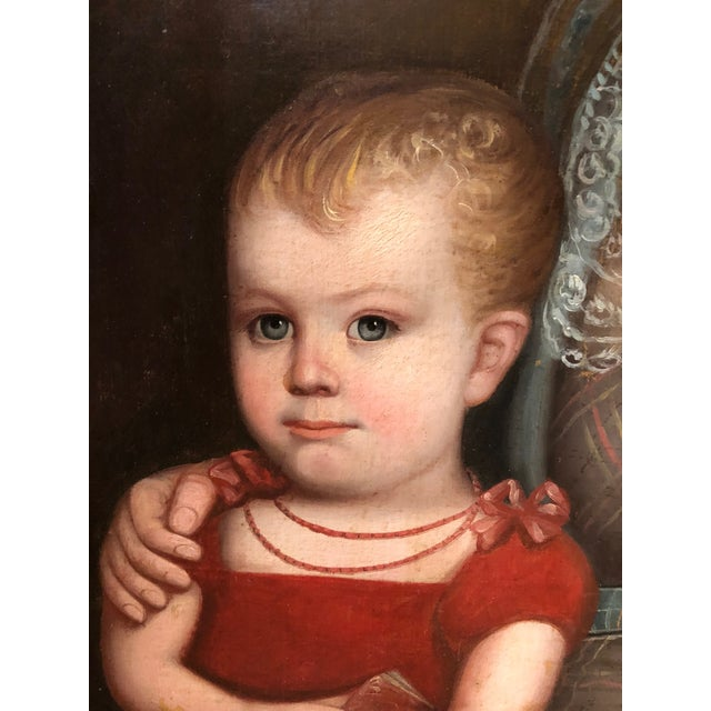 1820s American Mother and Child Portrait Painting in Maple Frame For Sale - Image 4 of 11