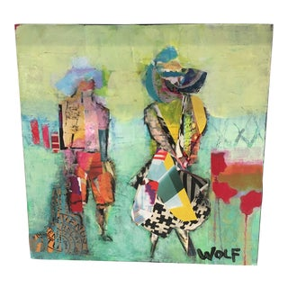 Pat Wolf Contemporary Collage on Panel For Sale