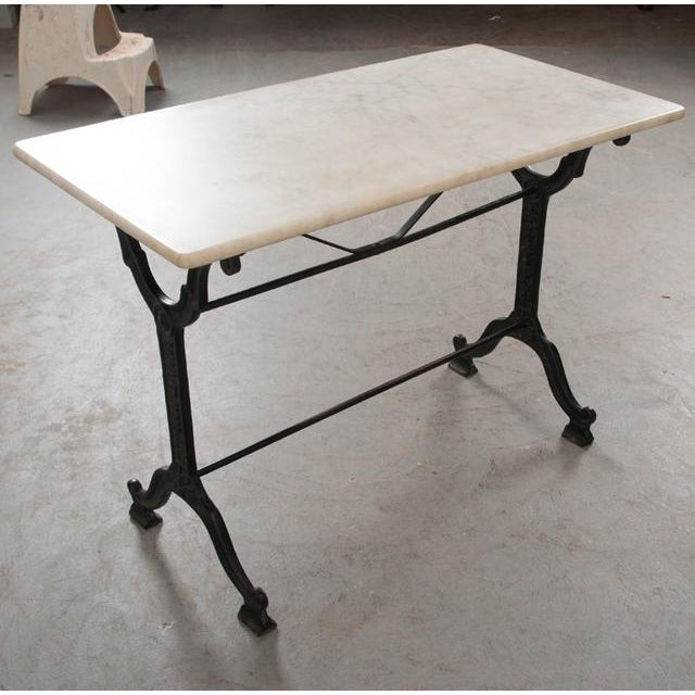 French Early 20th Century Marble Top Garden Table For Sale - Image 4 of 11