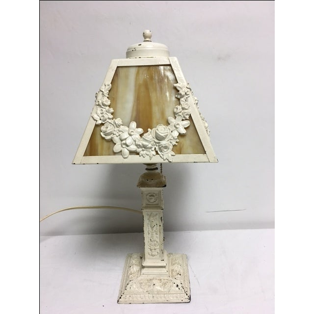 1930s Charming Vintage Shabby Chic Slag Glass Lamp For Sale - Image 5 of 5