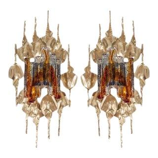 Brutalist Murano Glass Gilt Metal Wall Sconces - A Pair