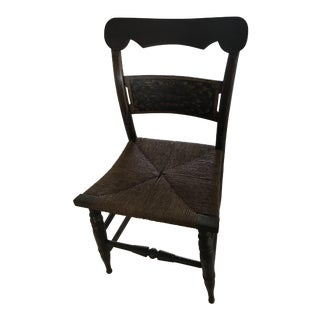 Antique Hitchcock Rush Seated Ebonized Stenciled Chair For Sale