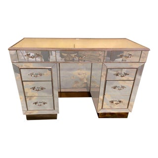 Mid-Century Modern Hollywood Regency Style Mirrored Vanity or Writing Desk