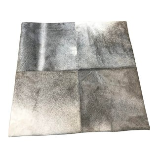 "Modern Gray Cowhide Pillow Cover - 24""x24"" For Sale"