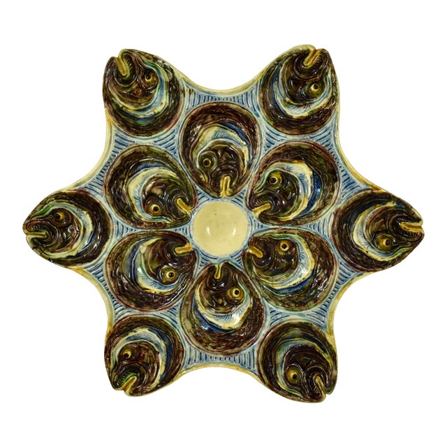 French Barbotine Palissy Majolica Fish Head Star Shaped Oyster Plate, Circa 1880 For Sale