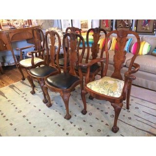 Antique Queen Anne Style Mahogany Dining Chairs - Set of 8 Preview