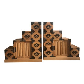 Asian-Inspired Room Divider/ Treasure Chest/ Apothecary Decorative Furniture - a Pair