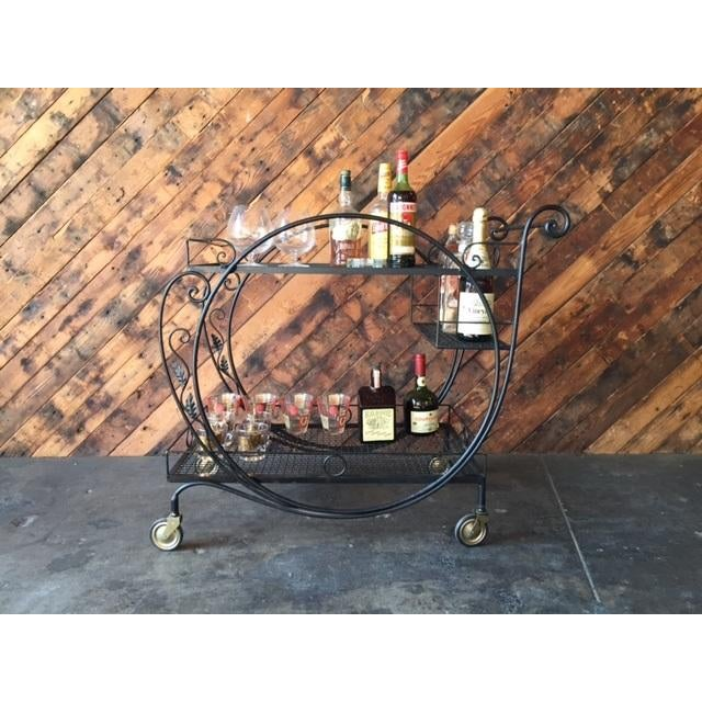 1940's Salterini Wrought Iron Rolling Outdoor Bar Serving Cart - Image 3 of 7