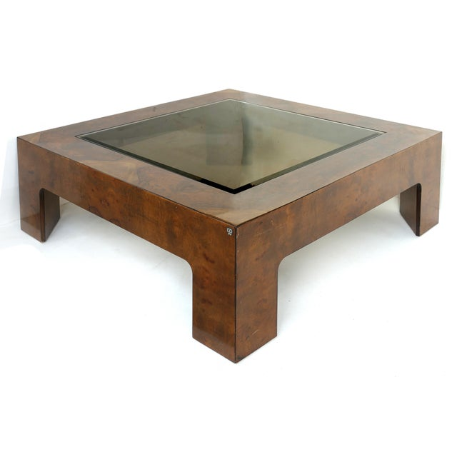 Vintage Burlwood and Beveled Glass Coffee Table Offered for sale is a large square burlwood coffee table with an inset...