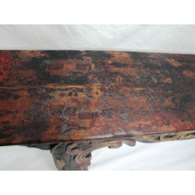 Asian 19th Century Painted Bench For Sale - Image 3 of 6