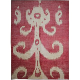 """Aara Rugs Inc. Hand Knotted Modern Ikat Rug - 14'1"""" x 10'7"""" For Sale"""