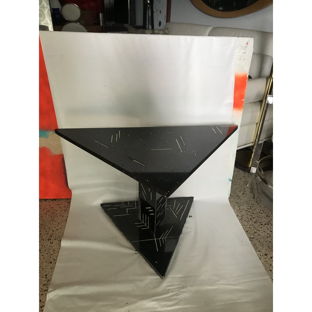 Mid-Century Modern 1980s Postmodern Black Marble Side Table For Sale - Image 3 of 8
