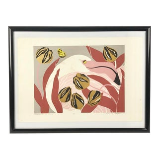 """Flamingo in Tulips"", Signed Artist Print by Ann T Cooper For Sale"