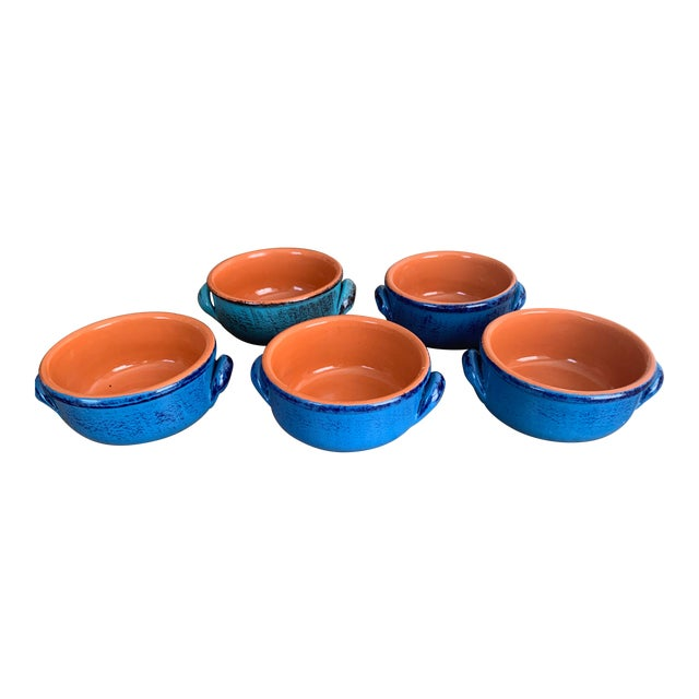Vintage DeSilva Rustic Painted & Glazed Terra Cotta Soup Bowls With Handles- Set of 5 For Sale