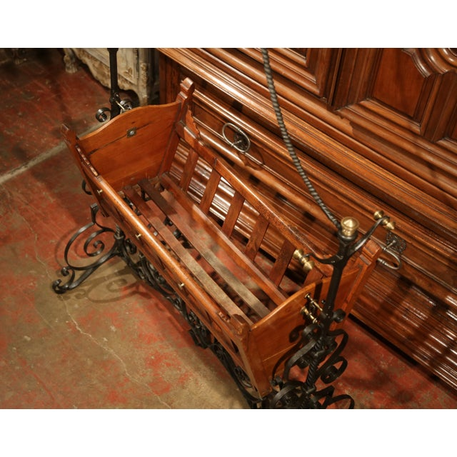 Late 19th Century 19th Century French Napoleon III Walnut and Iron Baby Craddle With Canopy For Sale - Image 5 of 9
