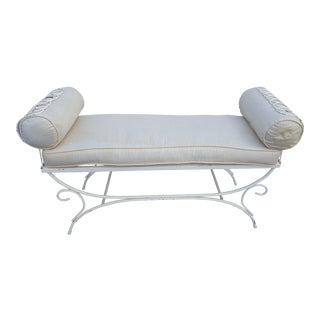 Hollywood Regency White Metal Painted Bench