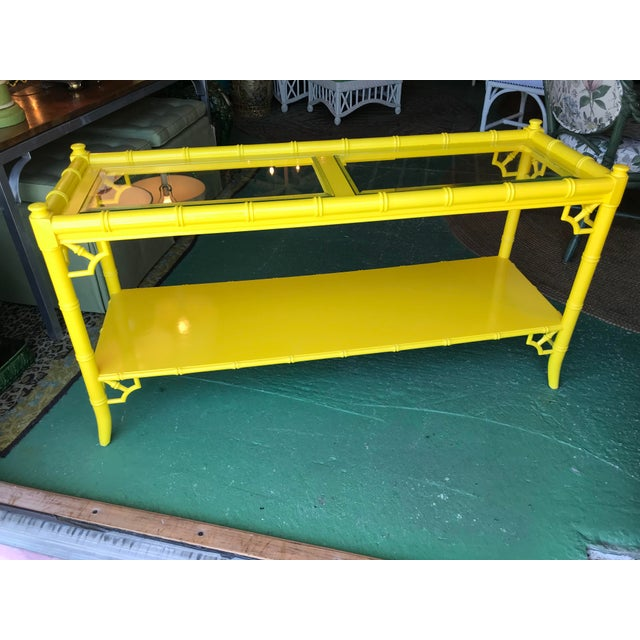 Lacquered Yellow Faux Bamboo and Fretwork Console Table For Sale - Image 13 of 13
