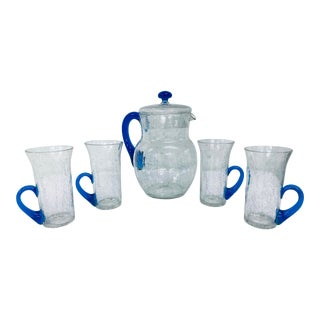Crackle Glass Pitcher and Tumbler Set by Morgantown For Sale