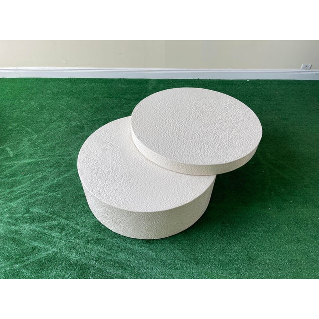 Wood 1990s White Circular Swivel Top Coffee Table For Sale - Image 7 of 7