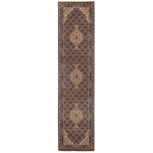 "Pasargad NY Indian Tabriz Mahi Design Silk & Wool Rug - 2'6"" X 10'2"" For Sale"