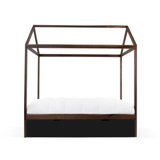 Domo Zen Full Trundle Canopy Bed in Walnut With Black Finish Preview