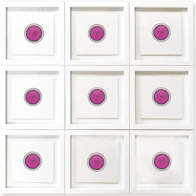 Dark Pink Natasha Mistry Minimalist Geometric Ink Drawings - Set of 9 For Sale - Image 8 of 9