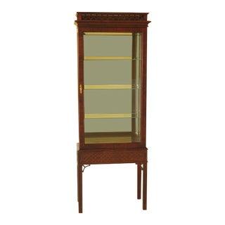 1990s Vintage Century Furniture Chippendale Style Vitrine Curio Cabinet - 2 Pieces