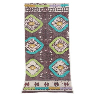 Tribal Purple Embroidered and Fringed Cotton Runner Rug - 2′ × 6′ For Sale