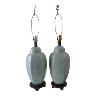 Sea Glass Green Ceramic Lamps - a Pair For Sale