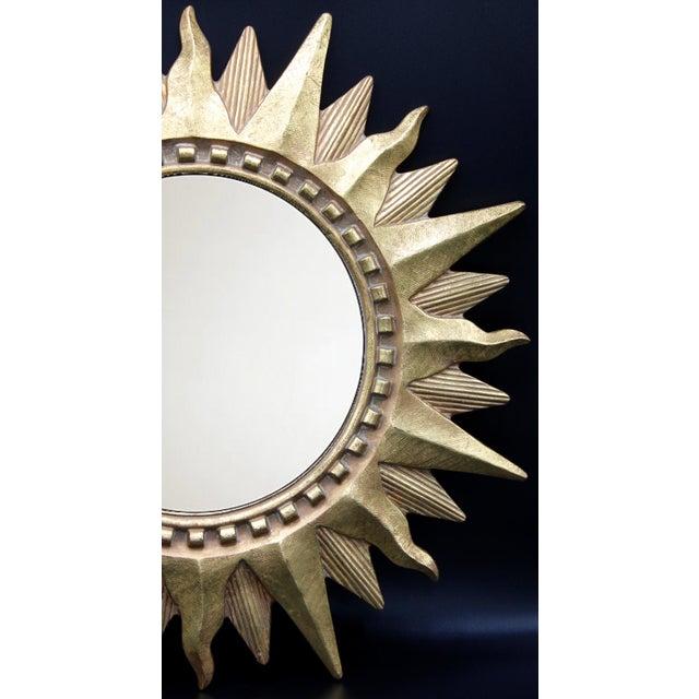 Late 20th Century Vintage Golden Gilt Convex Sunburst Mirror For Sale - Image 5 of 11