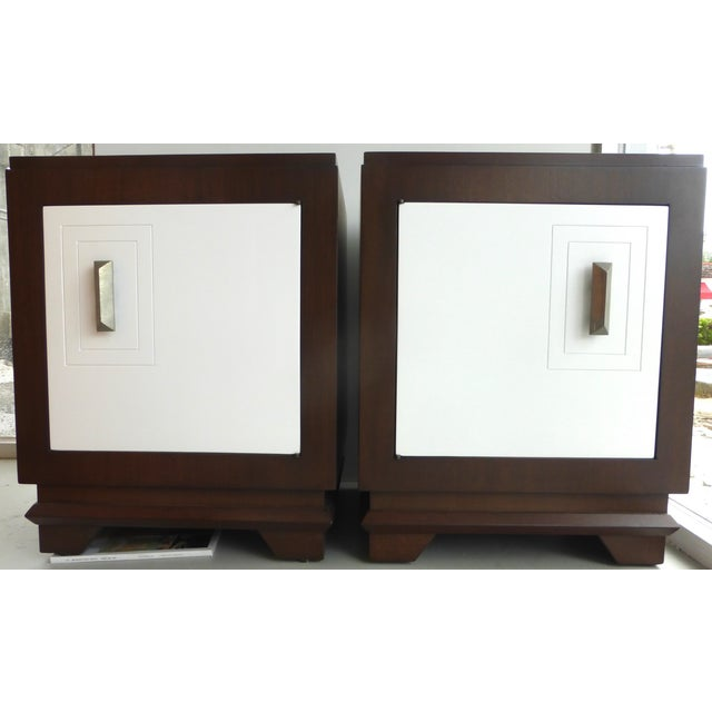 This is a beautiful pair of fully restored Art Deco style nightstands. The top and sides are wood with a beautiful grain....