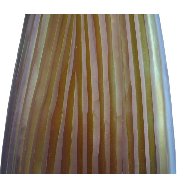 Art Glass Oggetti Tall Striped Vase - Signed For Sale - Image 7 of 10
