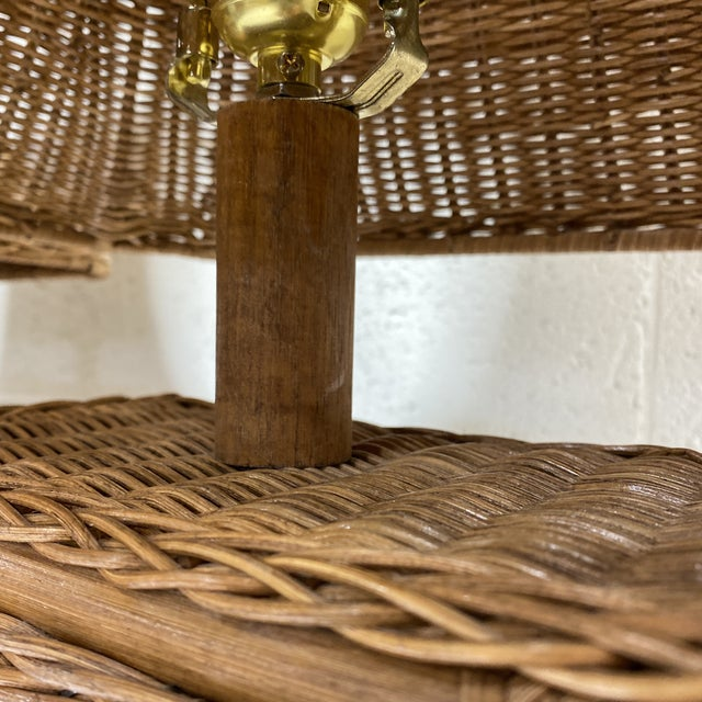 Wicker Asian Style Wicker Lamps - Pair For Sale - Image 7 of 13