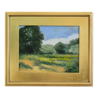 California Plein Air Landscape Painting W/ Gold Leaf Frame For Sale