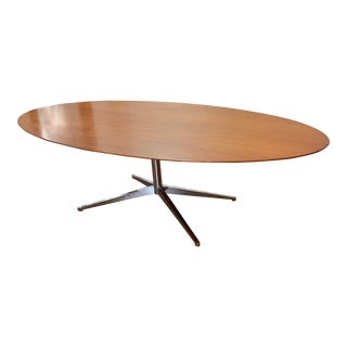 1960s Florence Knoll Walnut on Chrome Base Oval Dining / Conference Table For Sale