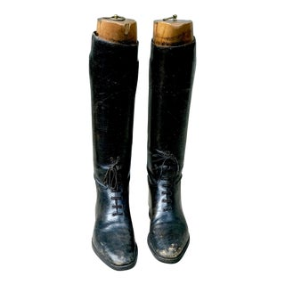 Antique English Regimental Boot With Forms - A Pair For Sale