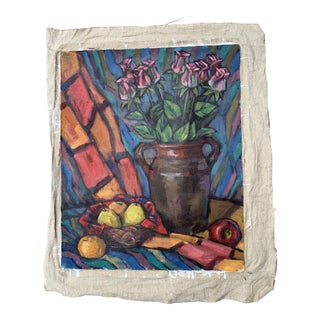 1990s Expressionist Style Still Life Oil Painting For Sale