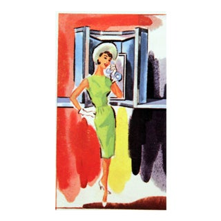 1960s Vintage Woman on Phone Illustration